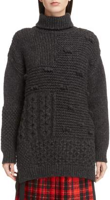 Simone Rocha Patchwork Knit Alpaca Blend Turtleneck Sweater