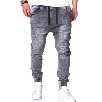 kingfansion -Pants kingf Men's Harem Jeans Wash Denim Drop Crotch Harem Joggers Pants Hip Hop