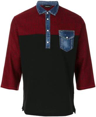 DSQUARED2 denim collar polo shirt