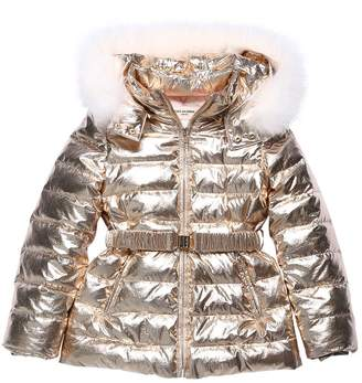Yves Salomon Enfant LAMINATED NYLON COAT W/ FUR
