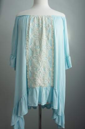 Vision Off-The-Shoulder Lace-Accent Tunic