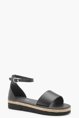 boohoo 2 Part Cleated Leather Sandals