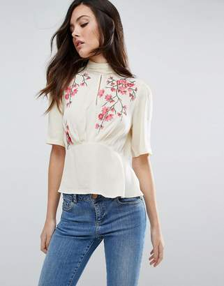 ASOS Tea Blouse With Embroidery $55 thestylecure.com