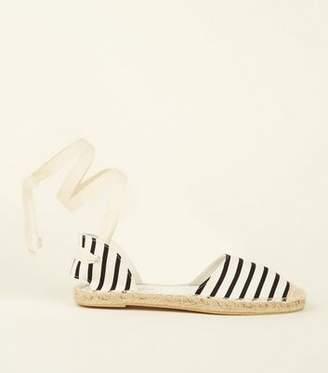 New Look Black Canvas Stripe Ankle Tie Espadrilles