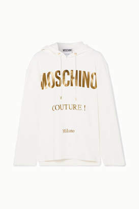 Moschino Printed Cotton-blend Jersey Hoodie - White