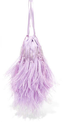 ATTICO Feather-trimmed Beaded Satin Pouch - Lilac