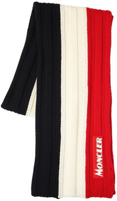 Moncler Color Block Virgin Wool Knit Scarf