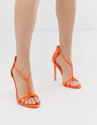 Public Desire Aurora neon orange twist detail heeled sandals