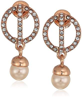Kenneth Cole New York Womens Crystal Orbital Post Stud with Pearl Drop Earrings