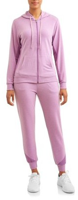 Daisy Fuentes Women's Athleisure Inside Mesh French Terry Zip Up Hoodie and Jogger Set