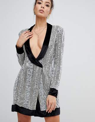 Missguided Peace & Love embelished wrap dress in silver