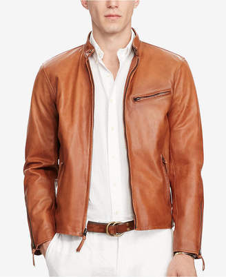 Polo Ralph Lauren Men Cafe Racer Leather Jacket