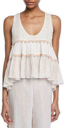 Jonathan Simkhai Embroidered Voile Tiered Tank