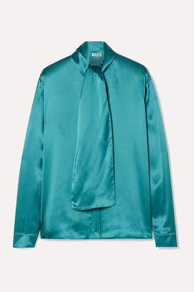 Balenciaga Silk-satin Blouse - Turquoise