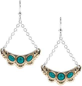 American West Sterling & Brass Gemstone Luna Dangle Earrings