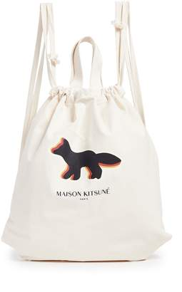 MAISON KITSUNÉ Quadri Fox Tote Backpack