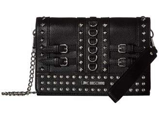 Love Moschino Wristlet with Belt Studs and Attachable Chain Strap