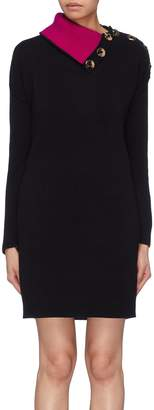 Marc Jacobs Foldover collar button shoulder wool knit dress