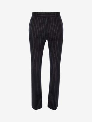 Alexander McQueen Pinstripe Tailored Kickback Pants