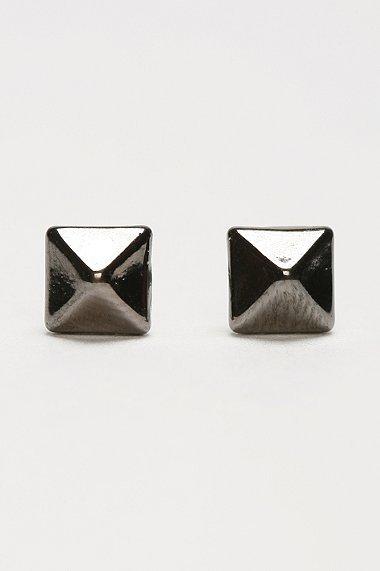 Metal Pyramid Stud Earrings
