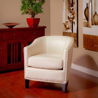 Noble House Avery Ivory Bonded Leather Club Chair