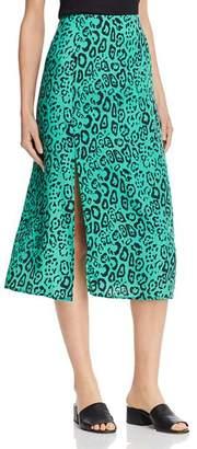WAYF Altamont Leopard-Print Midi Skirt
