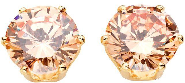 Gold tone champagne cubic zirconia stud earrings