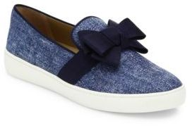 Michael Kors Collection Val Denim Bow Skate Sneakers $275 thestylecure.com