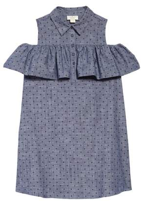 Kate Spade ruffle dot chambray dress
