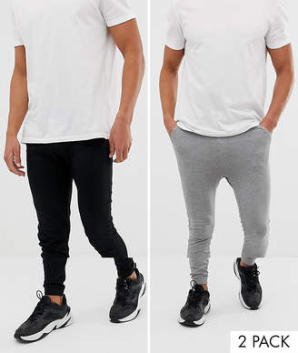Asos DESIGN lightweight skinny joggers 2 pack black/ gray marl SAVE