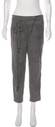 Tibi Suede Straight-Leg Wrap Pants w/ Tags