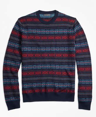 Brooks Brothers Merino Wool Fair Isle Crewneck Sweater