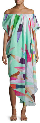 Mara Hoffman Off-the-Shoulder Printed Cotton Gauze Dashiki Coverup Dress, Multicolor $295 thestylecure.com
