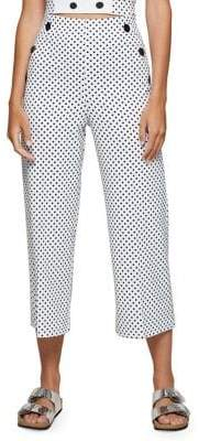 Miss Selfridge Polka-Dot Wide-Leg Crop Pants