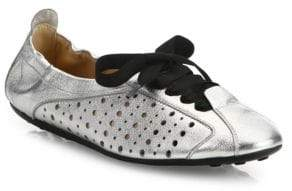 Tod's Metallic Leather Ballet Sneakers