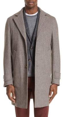Eleventy Trim Fit Herringbone Wool & Cashmere Coat