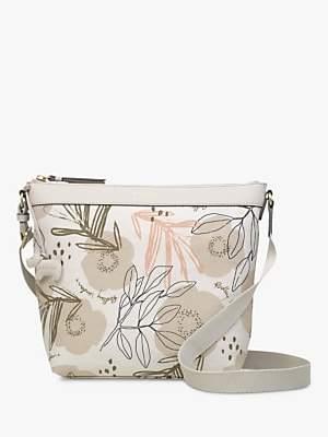 Radley Desert Floral Medium Cross Body Bag, Grey Floral