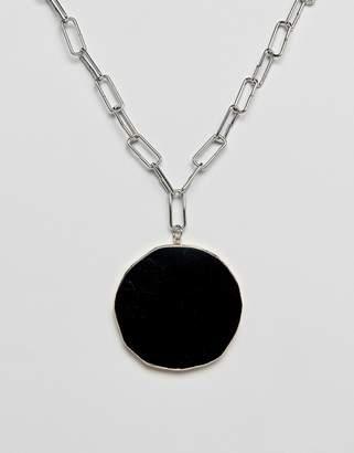 Asos DESIGN necklace with statement semi precious stone pendant in silver