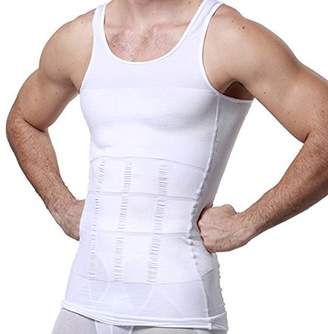 LACASA Slimming Tank Top Compression Shirt, Body Shaper Workout Tank Tops Training Shirt Undershirts-White