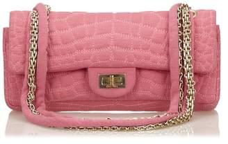 Chanel Vintage Croc Pattern Cotton Double Flap Bag