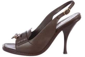 Saint Laurent Leather Peep-Toe Sandals