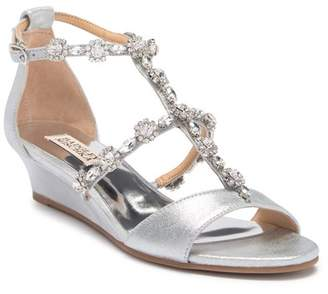 Badgley Mischka Terry II Crystal Embellished Leather Wedge Sandal