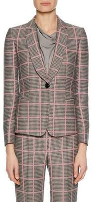 Giorgio Armani Notched-Collar One-Button Plaid Classic Jacket