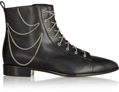 Giuseppe Zanotti Chain-embellished lace-up leather boots