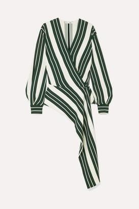 Oscar de la Renta Asymmetric Striped Crepe Wrap Blouse - Green
