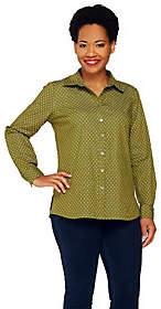 Denim & Co. Stretch Denim Printed Long SleeveShirt