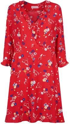 Claudie Pierlot Floral Cherry Crepe Dress
