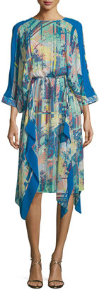 BCBGMAXAZRIA 3/4-Sleeve Printed Silk Dress, Deep Caribbean Multi $239 thestylecure.com