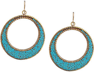 Devon Leigh Turquoise Brass Circle Earrings