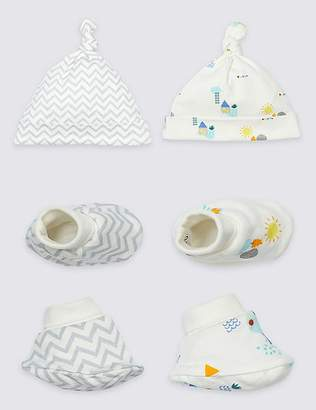 Marks and Spencer 2 Pack Pure Cotton Hat & Booties